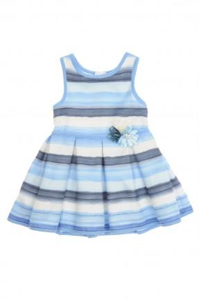 فستان اطفال بناتي مخطط بتدرجات الازرق