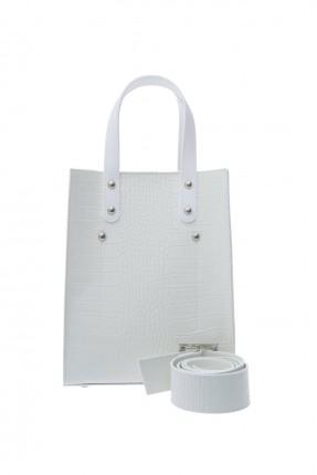 حقيبة يد نسائية جلد - ابيض