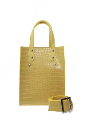 حقيبة يد نسائية جلد - اصفر