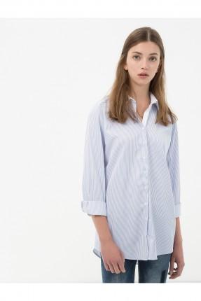 قميص نسائي طويل سادة سبور - ازرق