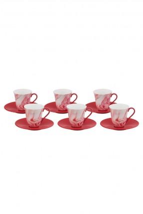 طقم فنحان قهوة احمر - 6 اشخاص