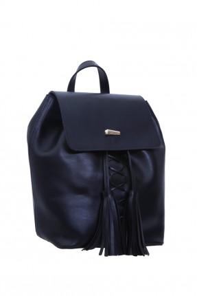 حقيبة ظهر نسائية مع رباطات - ازرق داكن