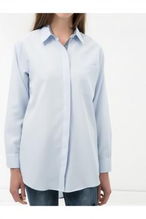 قميص نسائي بجيب جانبي سبور - ازرق