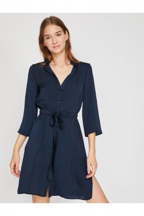قميص نسائي طويل بحزام سبور - ازرق داكن
