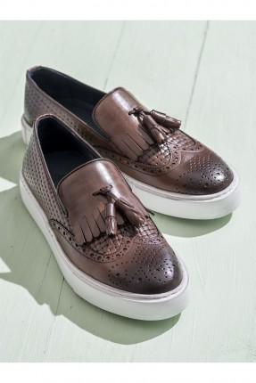 حذاء رجالية جلد مع كشكش - بني