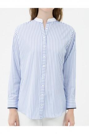 قميص نسائي مقلم طويل سبور - ازرق