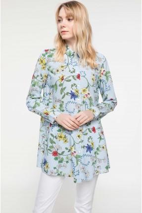 قميص نسائي مورد - ازرق