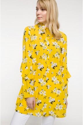 قميص نسائي مورد مع كشكش على الاكمام - اصفر