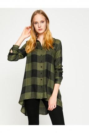 قميص نسائي كارو طويل سبور - زيتي