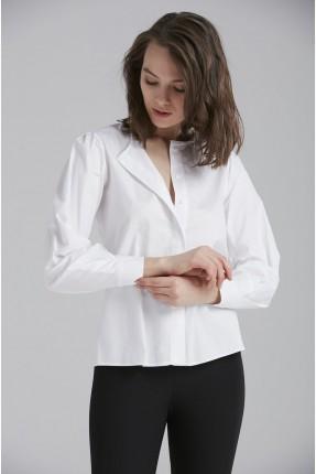 قميص نسائي كم طويل - ابيض