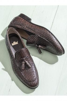 حذاء رجالي جلد منقوش - بني