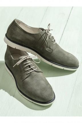 حذاء رجالي مع رباطات - زيتي