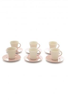 طقم فنجان قهوة 6 اشخاص - طبق وردي