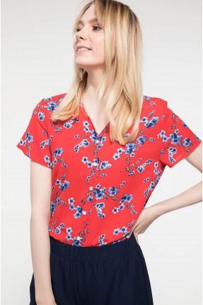 قميص نسائي نصف كم منقش بياقة V - احمر
