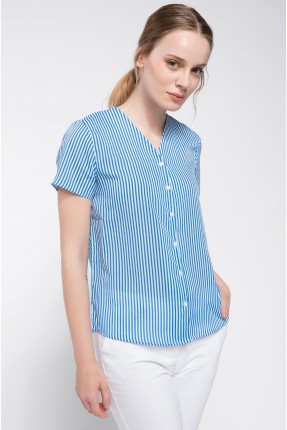 قميص نسائي نصف كم بازرار - ازرق