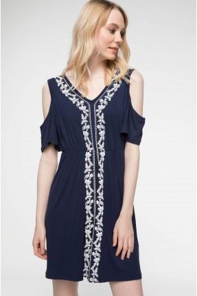 فستان سبور مفتوح الاكتاف - ازرق داكن