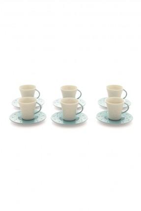 طقم فنجان قهوة 6 اشخاص - طبق ازرق