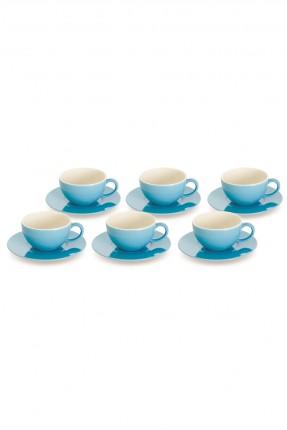 طقم فنجان شاي 6 اشخاص - ازرق