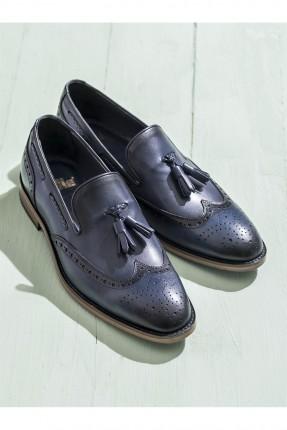 حذاء رجالي جلد - ازرق داكن