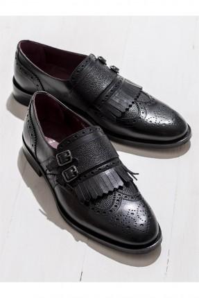 حذاء رجالي مع كشكش - اسود