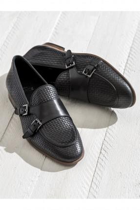 حذاء رجالي جلد مع احزمة - اسود
