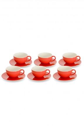 طقم فنجان شاي 6 اشخاص - احمر
