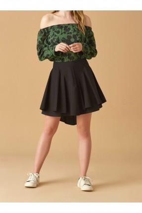 تنورة قصيرة مكشكشة سبور - اسود
