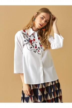 قميص نسائي مطرز من الامام سبور - ابيض
