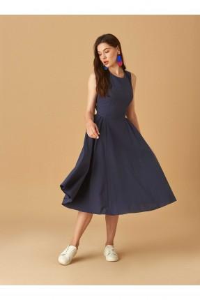 فستان سبور مفرغ من الظهر - ازرق داكن