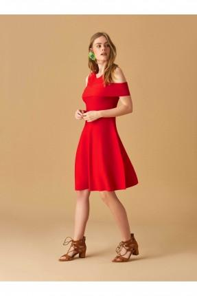 فستان باكتاف مفرغة سبور - احمر
