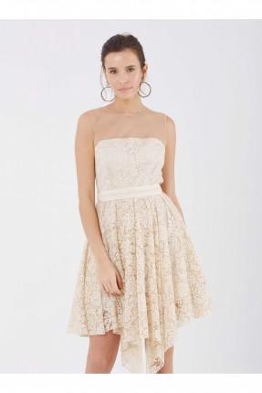 فستان رسمي دانتيل شفاف من الاعلى قصير - بيج