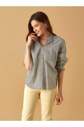 قميص نسائي مقلم بجيب جانبي سبور