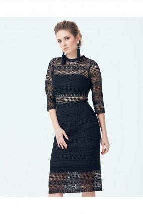 فستان رسمي دانتيل قصير - اسود