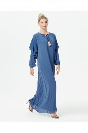 فستان طويل سبور باكمام مكشكشة - ازرق