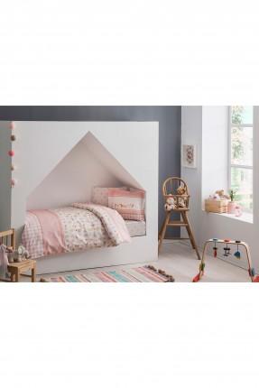 طقم غطاء سرير بيبي بناتي _ زهري