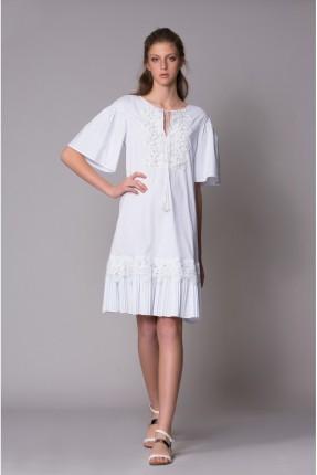فستان سبور نصف كم - ابيض