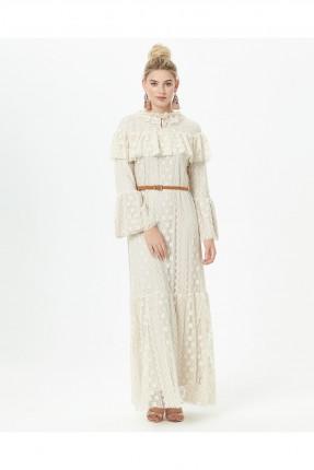 فستان رسمي طويل دانتيل مزركش من الاعلى - بيج