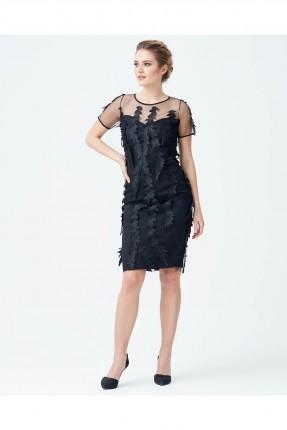فستان رسمي قصير مزين دانتيل شفاف من الاعلى