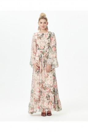 فستان سبور طويل شيفون منقوش ورود