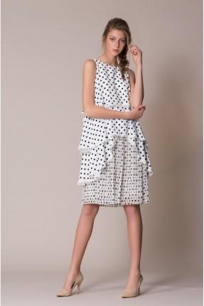 فستان سبور منقط مع كشكش