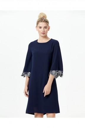 فستان رسمي سادة قصير مزين دانتيل - ازرق داكن