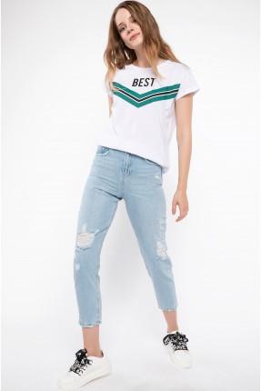 بنطال نسائي جينز ممزق - ازرق