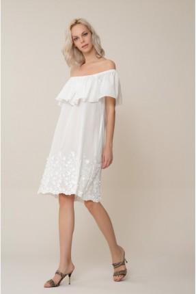 فستان سبور مع كشكش - ابيض