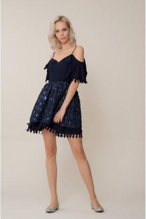 فستان سبور مفتوحة الاكتاف - ازرق داكن