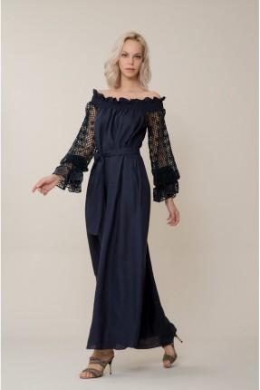 فستان سبور باكمام شيك - ازرق داكن