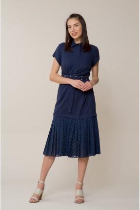 فستان سبور مع حزام - ازرق داكن