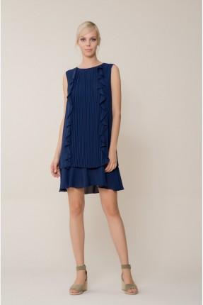 فستان سبور مع كشكش - ازرق داكن