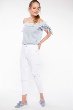 بنطال نسائي جينز مع شقوق - ابيض