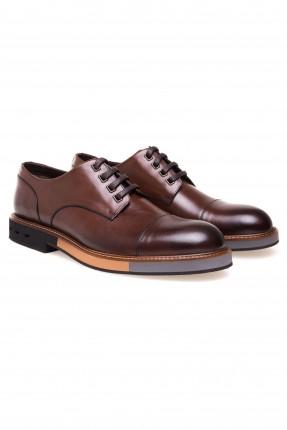 حذاء رجالي جلد برباط كلاسيكي - بني