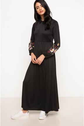 فستان سبور كم طويل - اسود